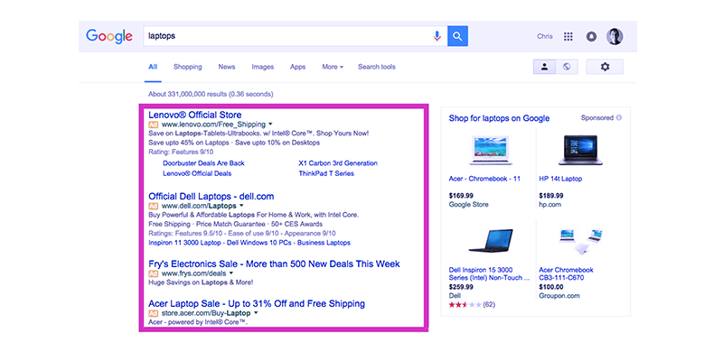 PPC ads in SERP